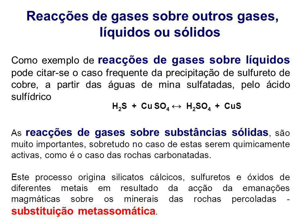 Reacções de gases sobre outros gases, líquidos ou sólidos Como exemplo de reacções de gases sobre líquidos pode citar-se o caso frequente da precipita