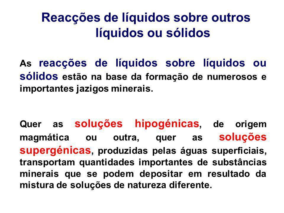 Reacções de líquidos sobre outros líquidos ou sólidos As reacções de líquidos sobre líquidos ou sólidos estão na base da formação de numerosos e impor