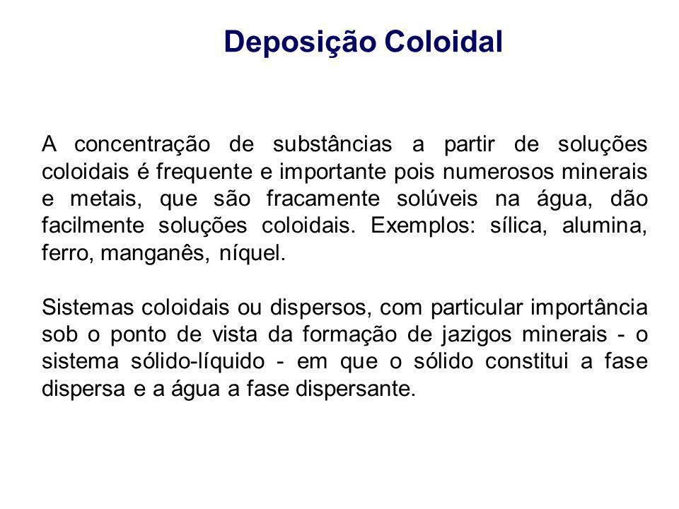 Deposição Coloidal A concentração de substâncias a partir de soluções coloidais é frequente e importante pois numerosos minerais e metais, que são fra