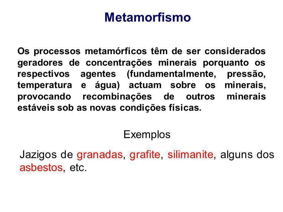 Metamorfismo Os processos metamórficos têm de ser considerados geradores de concentrações minerais porquanto os respectivos agentes (fundamentalmente,