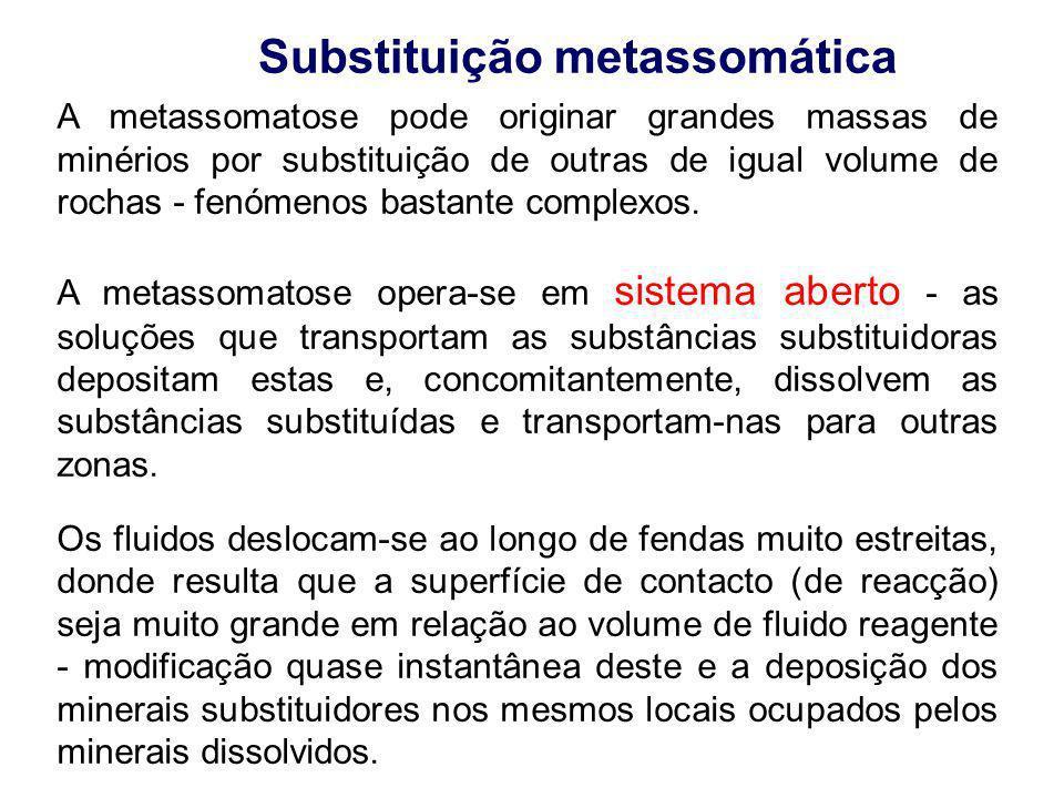 A metassomatose pode originar grandes massas de minérios por substituição de outras de igual volume de rochas - fenómenos bastante complexos. A metass