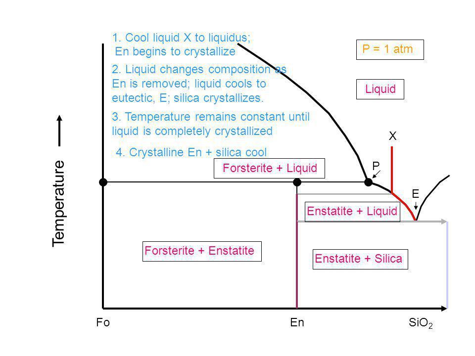 Fo Liquid EnSiO 2 X Forsterite + Enstatite Enstatite + Silica Enstatite + Liquid Forsterite + Liquid Temperature P = 1 atm 1. Cool liquid X to liquidu