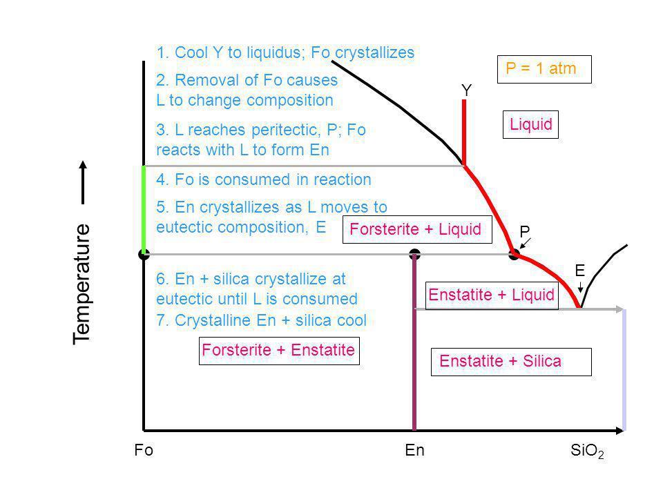Fo Liquid EnSiO 2 Forsterite + Enstatite Enstatite + Silica Enstatite + Liquid Forsterite + Liquid Temperature P = 1 atm Y 1. Cool Y to liquidus; 2. R