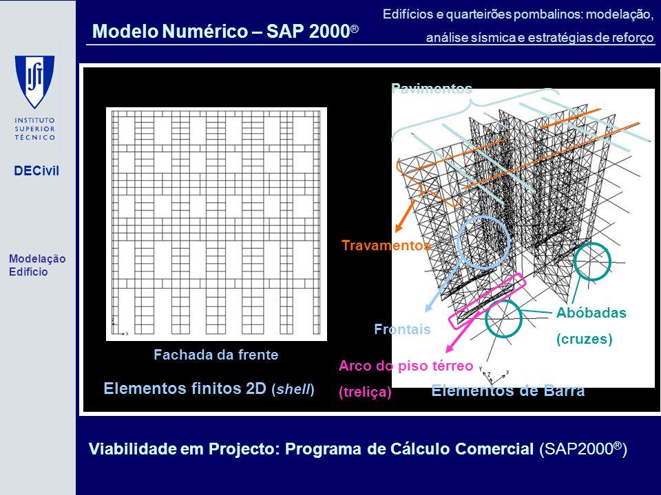 DECivil Edifícios e quarteirões pombalinos: modelação, análise sísmica e estratégias de reforço Elementos finitos 2D (shell) Fachada da frente Abóbadas (cruzes) Travamentos Pavimentos Elementos de Barra Frontais Arco do piso térreo (treliça) Viabilidade em Projecto: Programa de Cálculo Comercial (SAP2000 ® ) Modelo Numérico – SAP 2000 ® Modelação Edifício