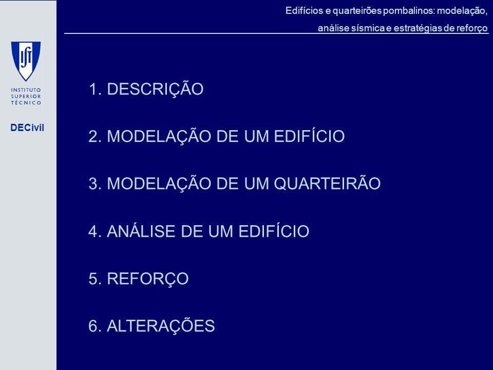 DECivil Edifícios e quarteirões pombalinos: modelação, análise sísmica e estratégias de reforço 1.DESCRIÇÃO 2.MODELAÇÃO DE UM EDIFÍCIO 3.MODELAÇÃO DE UM QUARTEIRÃO 4.ANÁLISE DE UM EDIFÍCIO 5.REFORÇO 6.ALTERAÇÕES