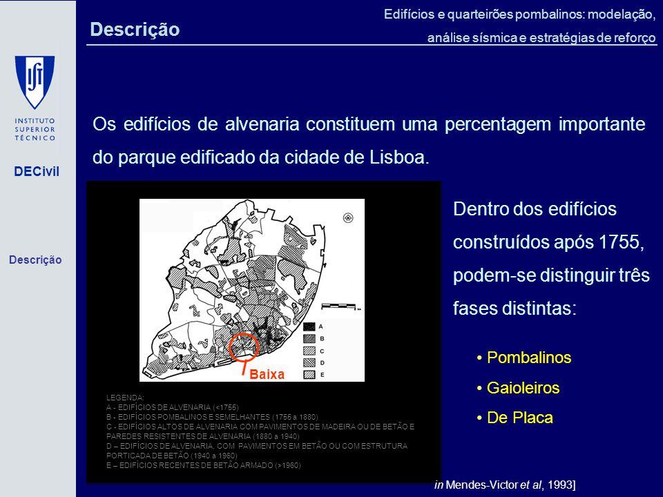 DECivil Edifícios e quarteirões pombalinos: modelação, análise sísmica e estratégias de reforço LEGENDA: A - EDIFÍCIOS DE ALVENARIA (<1755) B - EDIFÍCIOS POMBALINOS E SEMELHANTES (1755 a 1880) C - EDIFÍCIOS ALTOS DE ALVENARIA COM PAVIMENTOS DE MADEIRA OU DE BETÃO E PAREDES RESISTENTES DE ALVENARIA (1880 a 1940) D – EDIFÍCIOS DE ALVENARIA, COM PAVIMENTOS EM BETÃO OU COM ESTRUTURA PORTICADA DE BETÃO (1940 a 1960) E – EDIFÍCIOS RECENTES DE BETÃO ARMADO (>1960) [in Mendes-Victor et al, 1993] Baixa Os edifícios de alvenaria constituem uma percentagem importante do parque edificado da cidade de Lisboa.