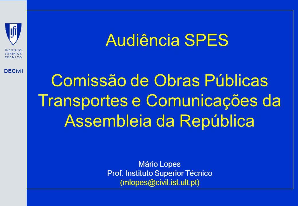 DECivil Audiência SPES Comissão de Obras Públicas Transportes e Comunicações da Assembleia da República Mário Lopes Prof. Instituto Superior Técnico (