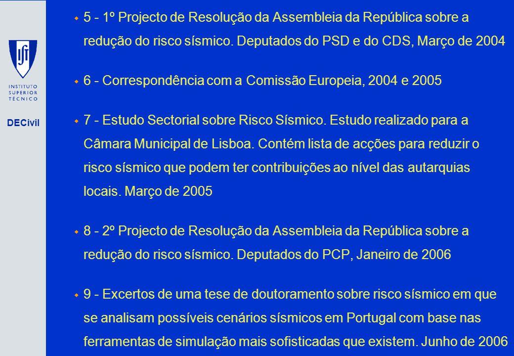 DECivil 5 - 1º Projecto de Resolução da Assembleia da República sobre a redução do risco sísmico. Deputados do PSD e do CDS, Março de 2004 6 - Corresp