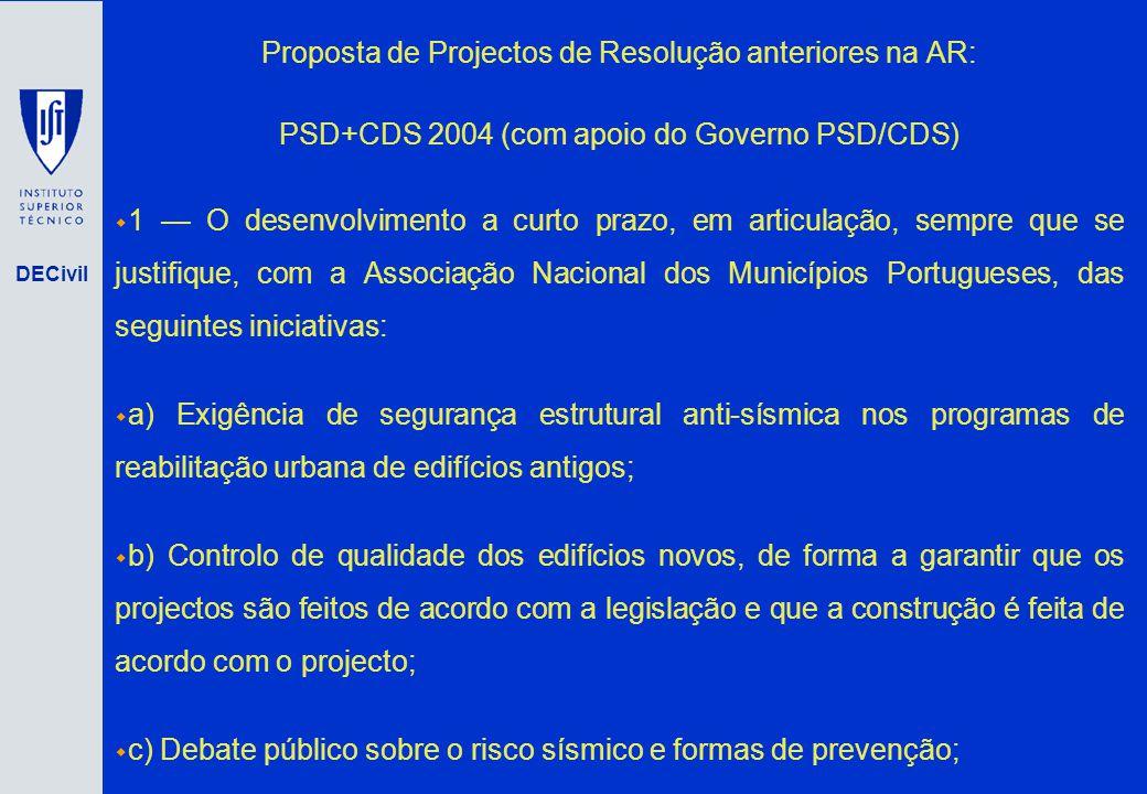 DECivil Proposta de Projectos de Resolução anteriores na AR: PSD+CDS 2004 (com apoio do Governo PSD/CDS) 1 O desenvolvimento a curto prazo, em articul