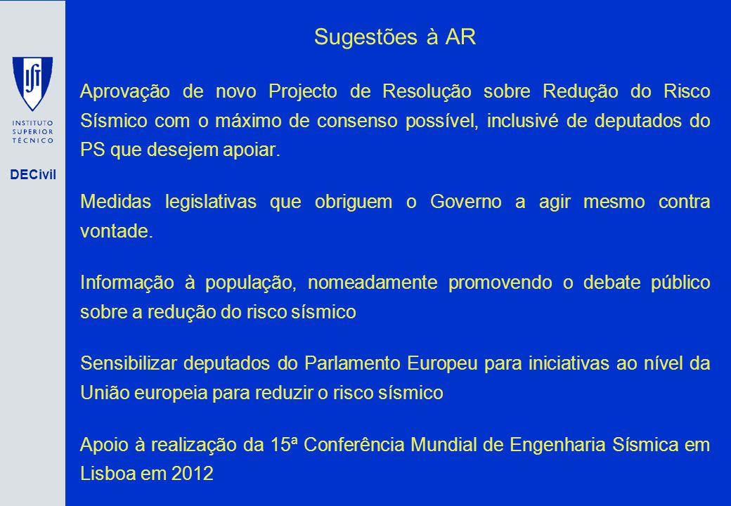 DECivil Sugestões à AR Aprovação de novo Projecto de Resolução sobre Redução do Risco Sísmico com o máximo de consenso possível, inclusivé de deputado