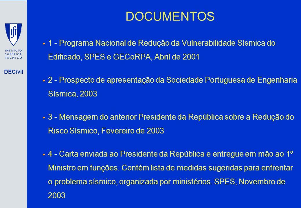 DECivil DOCUMENTOS 1 - Programa Nacional de Redução da Vulnerabilidade Sísmica do Edificado, SPES e GECoRPA, Abril de 2001 2 - Prospecto de apresentaç
