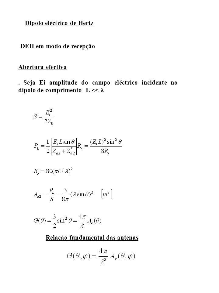 Em recepção h e determina a amplitude complexa da tensão induzida em vazio na antena por um campo incidente segundo uma direcção (Ө,φ).
