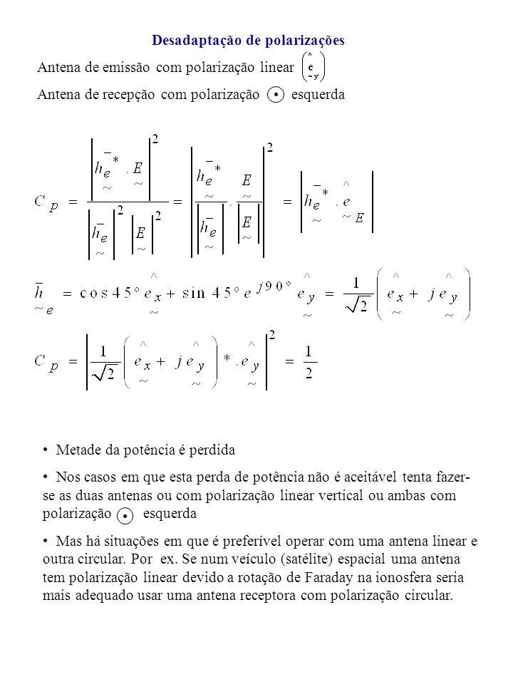 Desadaptação de polarizações Antena de emissão com polarização linear Antena de recepção com polarização esquerda Metade da potência é perdida Nos cas