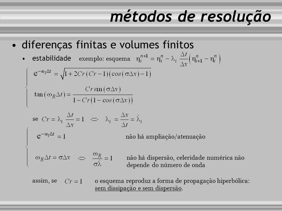 métodos de resolução diferenças finitas e volumes finitos estabilidade exemplo: esquema se não há ampliação/atenuação não há dispersão, celeridade num