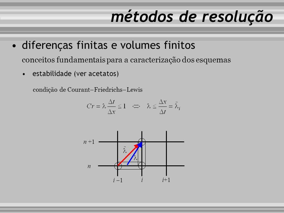 conceitos fundamentais para a caracterização dos esquemas métodos de resolução diferenças finitas e volumes finitos estabilidade (ver acetatos) condiç