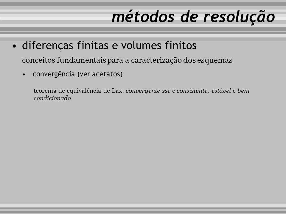 conceitos fundamentais para a caracterização dos esquemas métodos de resolução diferenças finitas e volumes finitos convergência (ver acetatos) teorem