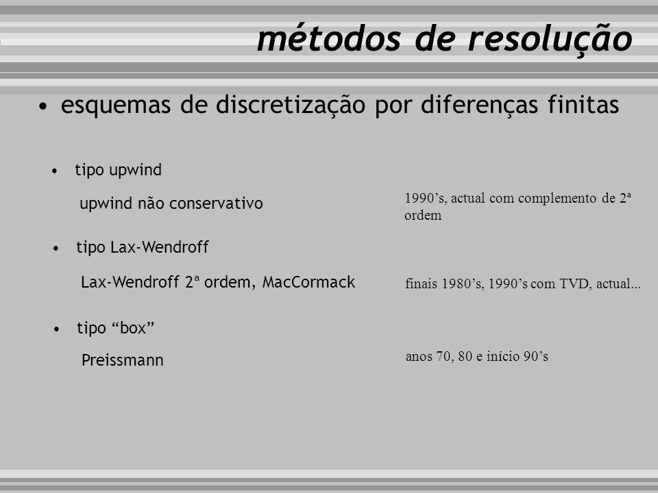 esquemas de discretização por diferenças finitas métodos de resolução tipo upwind upwind não conservativo tipo Lax-Wendroff Lax-Wendroff 2ª ordem, Mac