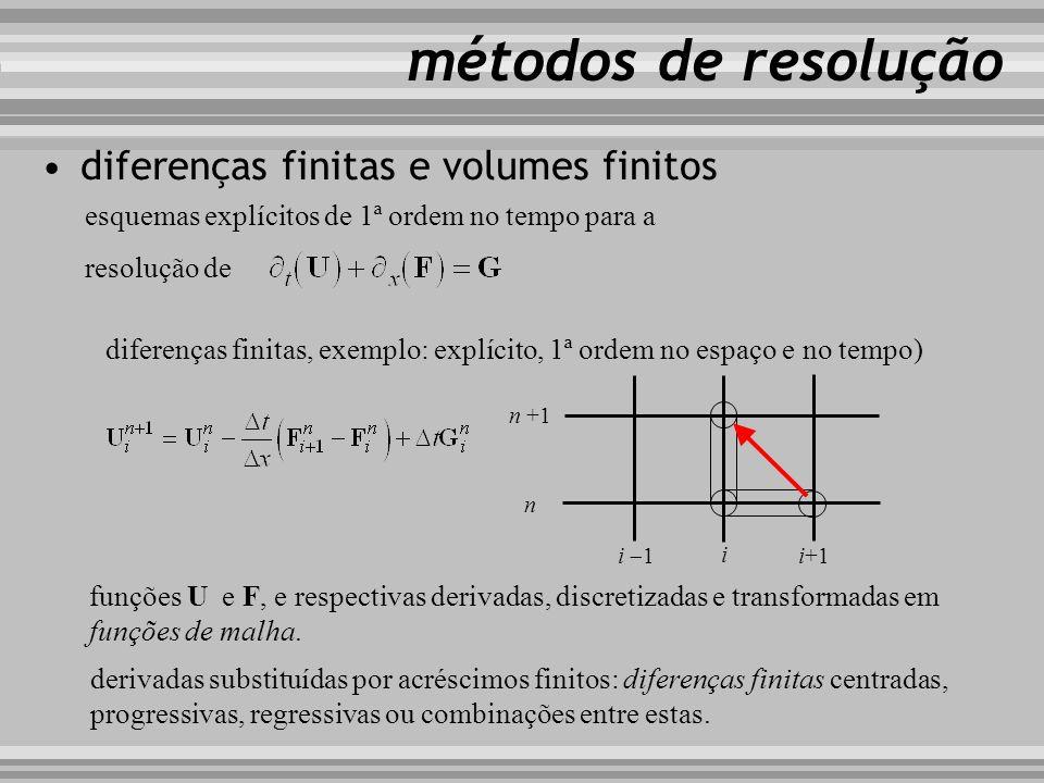 diferenças finitas e volumes finitos métodos de resolução diferenças finitas, exemplo: explícito, 1ª ordem no espaço e no tempo) esquemas explícitos d