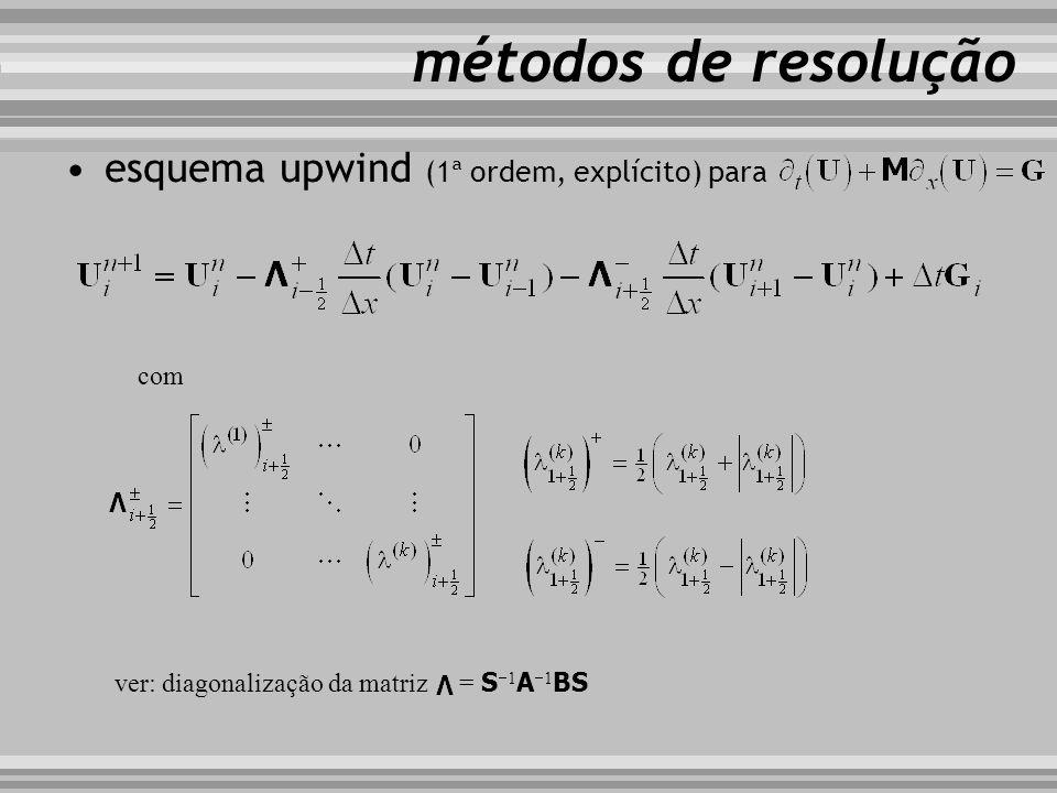 esquema upwind (1ª ordem, explícito) para métodos de resolução com ver: diagonalização da matriz = S 1 A 1 BS