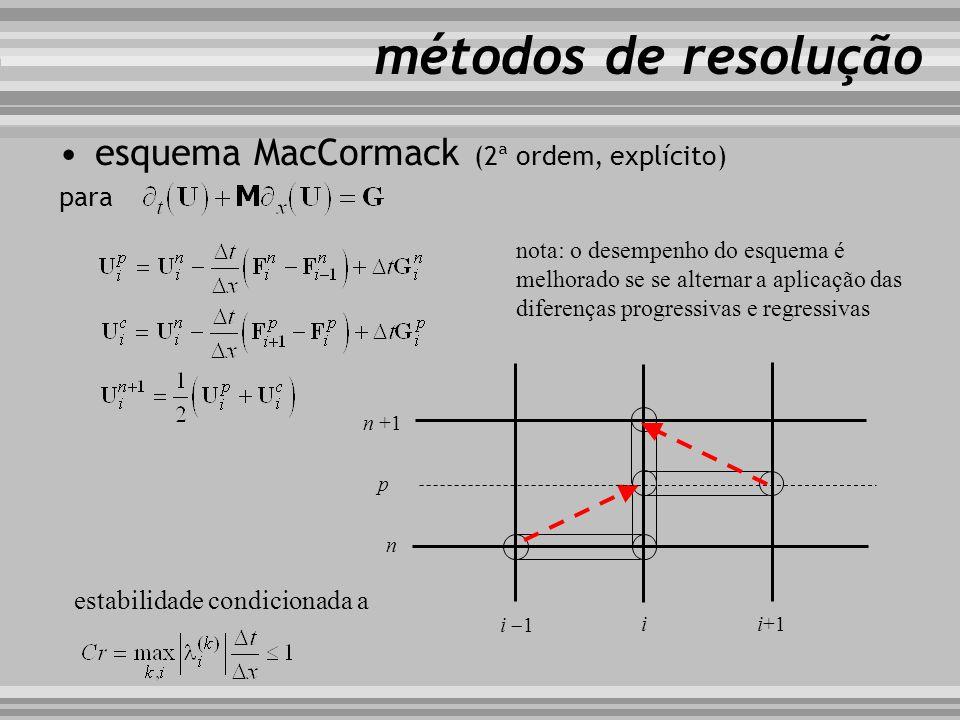 esquema MacCormack (2ª ordem, explícito) para métodos de resolução i i+1 i 1 n n +1 p estabilidade condicionada a nota: o desempenho do esquema é melh