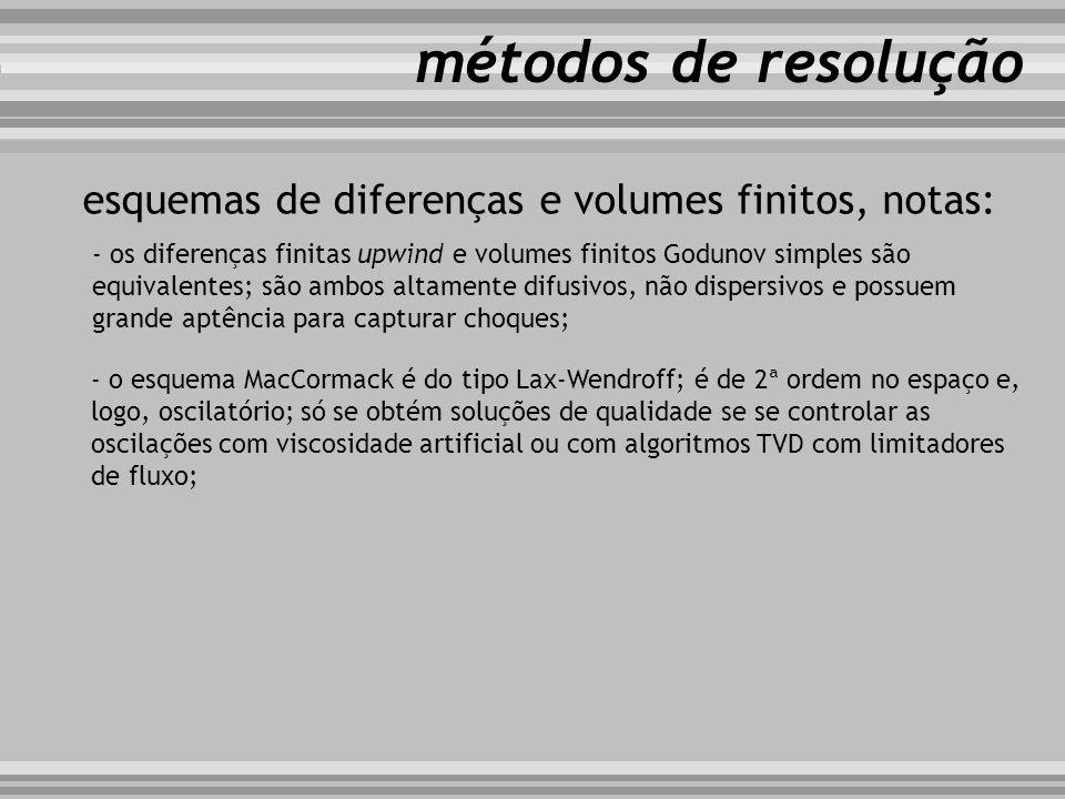 métodos de resolução esquemas de diferenças e volumes finitos, notas: - os diferenças finitas upwind e volumes finitos Godunov simples são equivalente