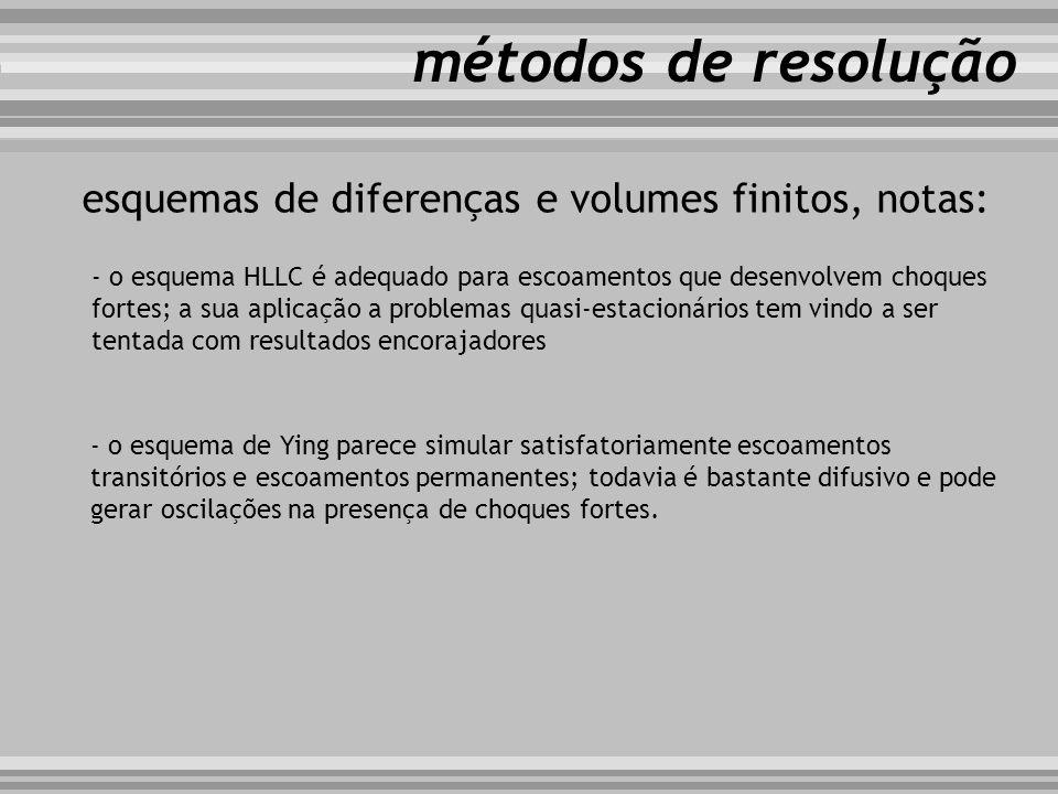 métodos de resolução esquemas de diferenças e volumes finitos, notas: - o esquema HLLC é adequado para escoamentos que desenvolvem choques fortes; a s