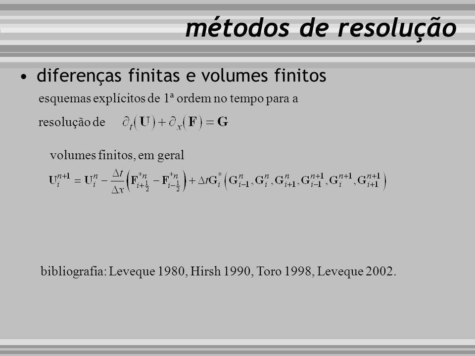 esquemas de discretização por diferenças finitas métodos de resolução tipo upwind upwind não conservativo tipo Lax-Wendroff Lax-Wendroff 2ª ordem, MacCormack tipo box Preissmann 1990s, actual com complemento de 2ª ordem finais 1980s, 1990s com TVD, actual...