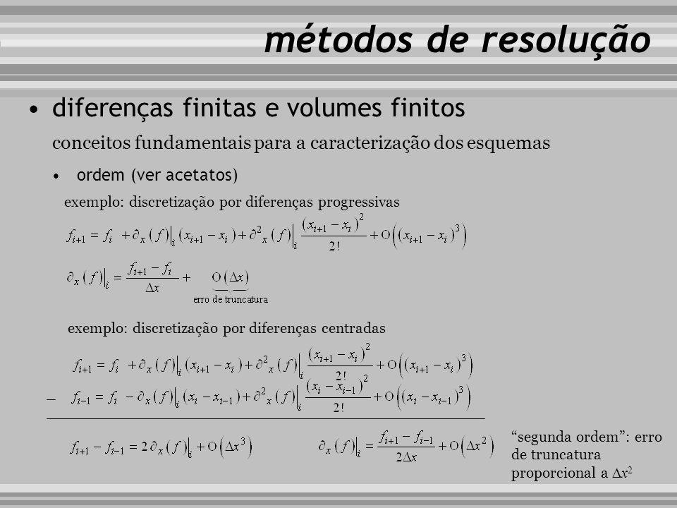 conceitos fundamentais para a caracterização dos esquemas métodos de resolução ordem (ver acetatos) diferenças finitas e volumes finitos exemplo: disc