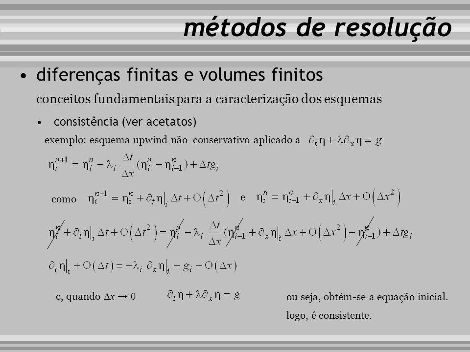 conceitos fundamentais para a caracterização dos esquemas métodos de resolução diferenças finitas e volumes finitos estabilidade (ver acetatos) exemplo: esquema upwind não conservativo aplicado a e sendo obtém-se verificar a frequência angular e o factor de ampliação associados às perturbações propagadas no domínio de cálculo em que
