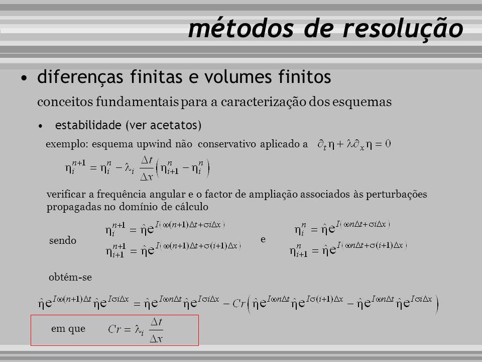 conceitos fundamentais para a caracterização dos esquemas métodos de resolução diferenças finitas e volumes finitos estabilidade (ver acetatos) exempl