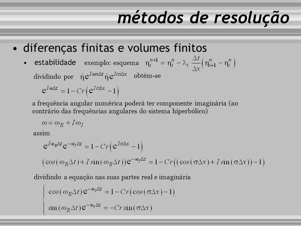 métodos de resolução diferenças finitas e volumes finitos estabilidade exemplo: esquema a frequência angular numérica poderá ter componente imaginária