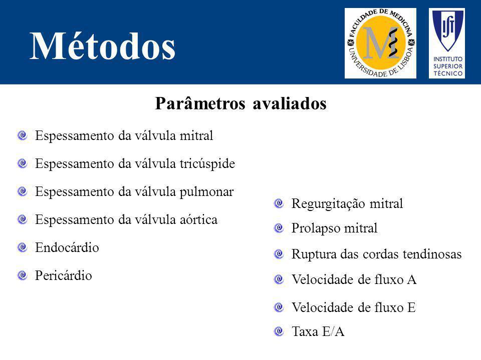 Métodos Parâmetros avaliados Espessamento da válvula tricúspide Espessamento da válvula pulmonar Espessamento da válvula aórtica Endocárdio Pericárdio