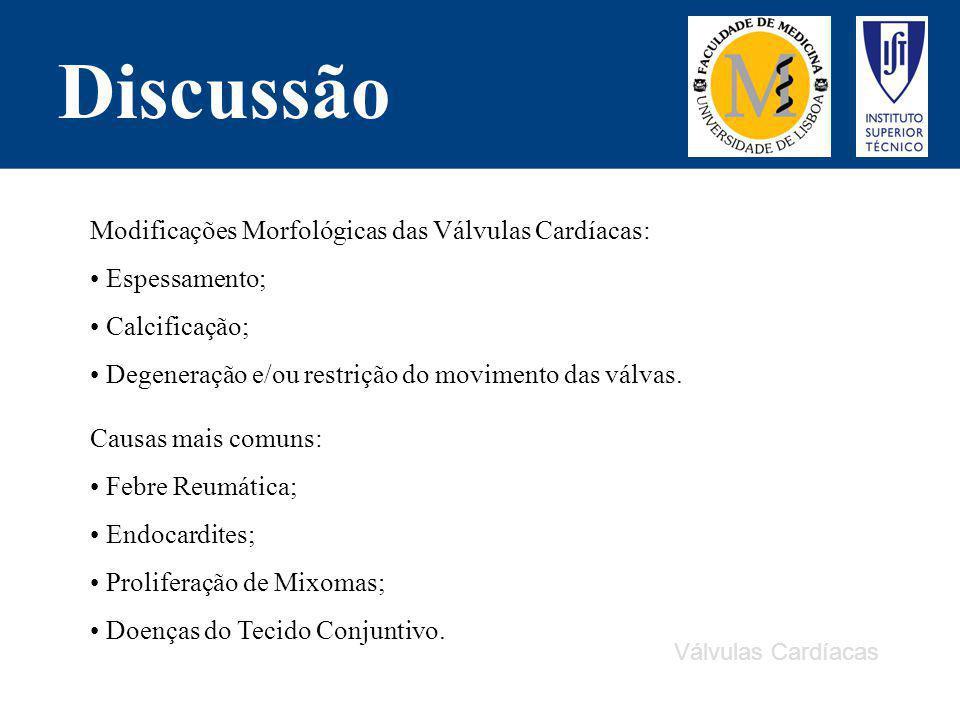 Discussão Modificações Morfológicas das Válvulas Cardíacas: Espessamento; Calcificação; Degeneração e/ou restrição do movimento das válvas. Causas mai