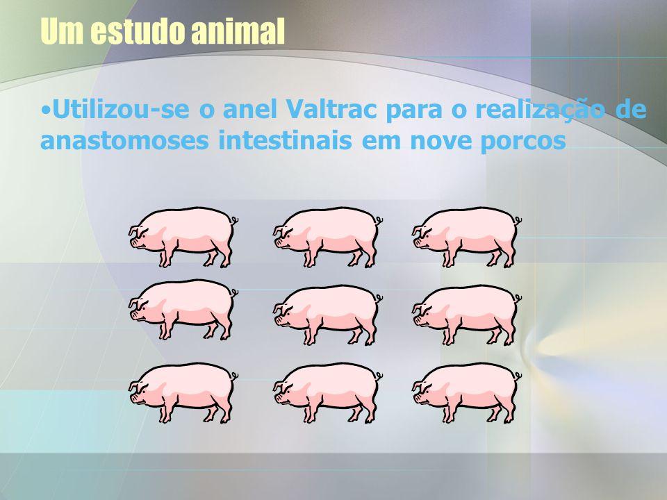 Utilizou-se o anel Valtrac para o realização de anastomoses intestinais em nove porcos