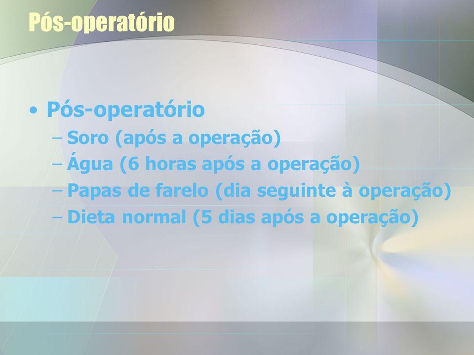 Pós-operatório Duração –105-150 min. (cinco primeiros porcos) –70-95 min. (quatro restantes animais)