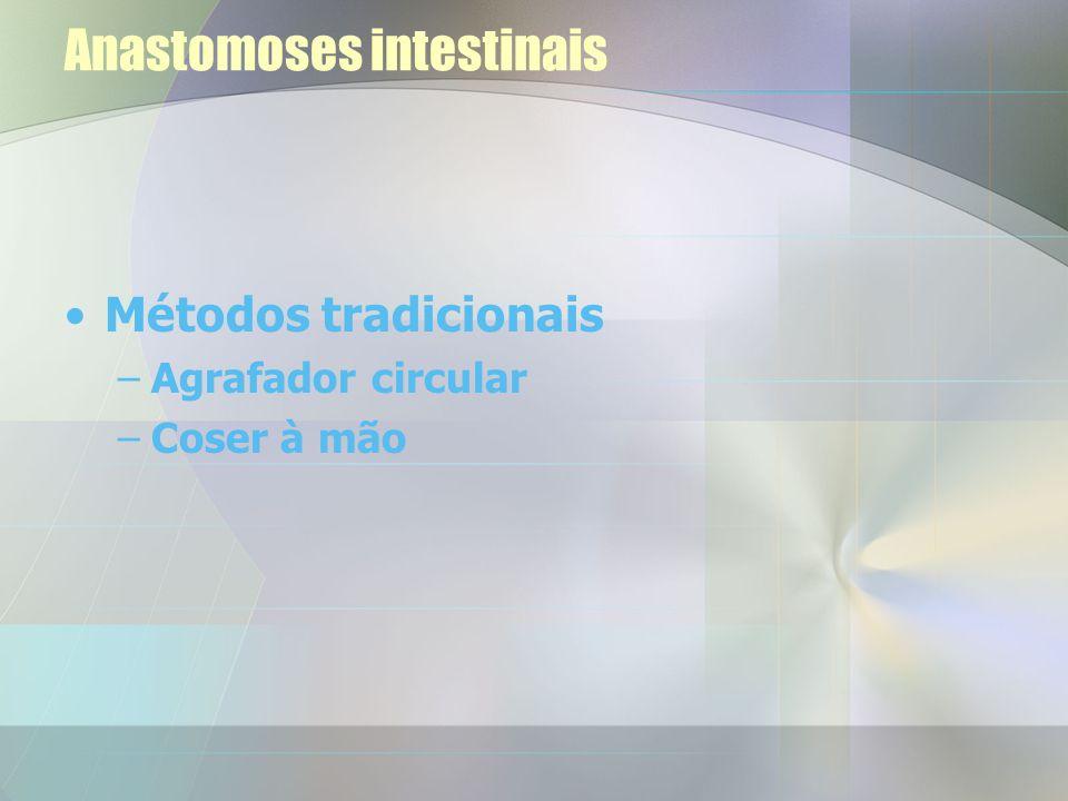 Anastomoses intestinais Métodos tradicionais –Agrafador circular –Coser à mão