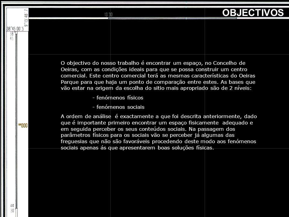 O objectivo do nosso trabalho é encontrar um espaço, no Concelho de Oeiras, com as condições ideais para que se possa construir um centro comercial. E
