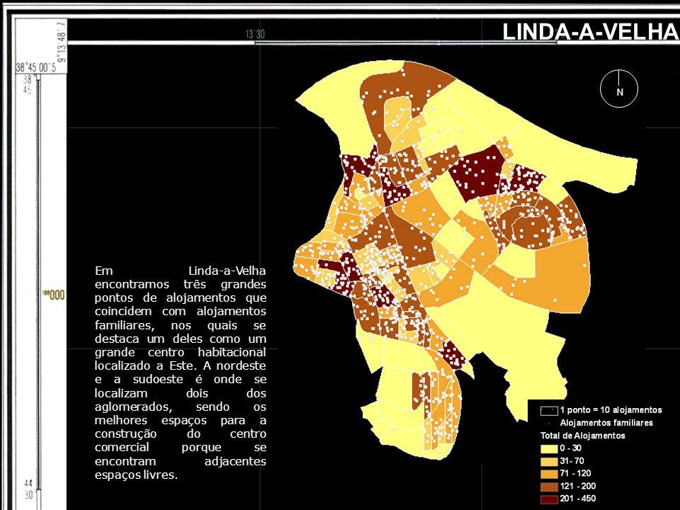 LINDA-A-VELHA N Em Linda-a-Velha encontramos três grandes pontos de alojamentos que coincidem com alojamentos familiares, nos quais se destaca um deles como um grande centro habitacional localizado a Este.