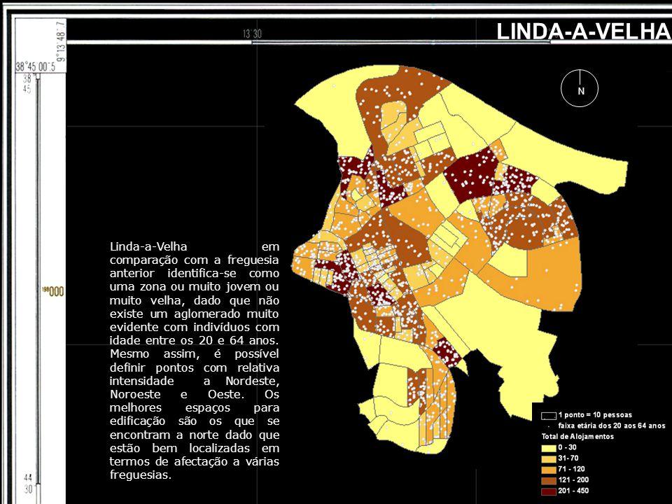 LINDA-A-VELHA N Linda-a-Velha em comparação com a freguesia anterior identifica-se como uma zona ou muito jovem ou muito velha, dado que não existe um aglomerado muito evidente com indivíduos com idade entre os 20 e 64 anos.
