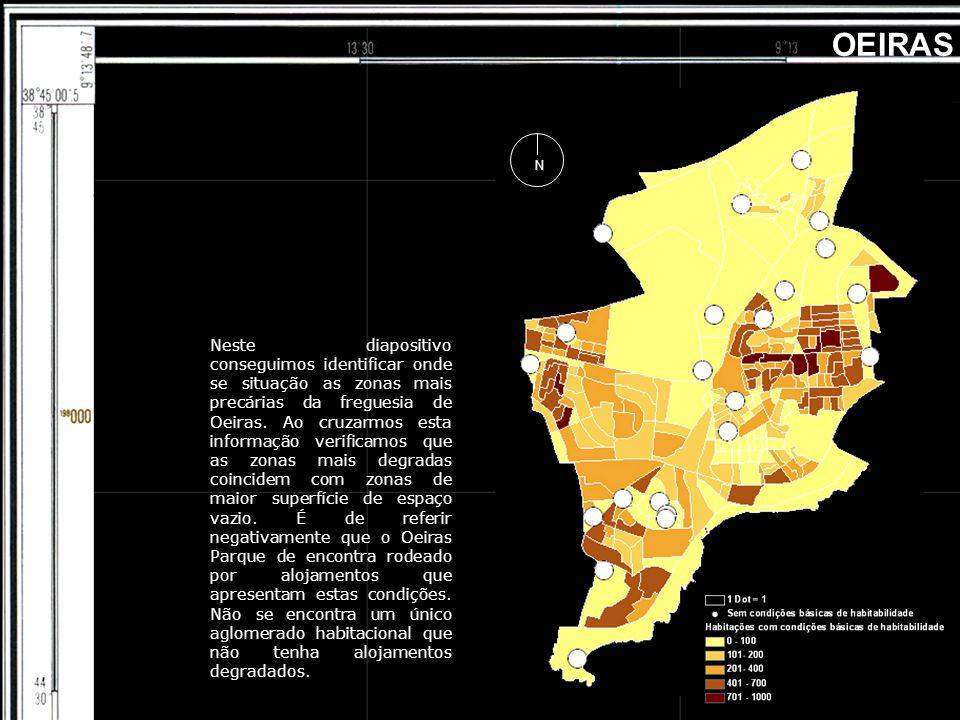 OEIRAS Neste diapositivo conseguimos identificar onde se situação as zonas mais precárias da freguesia de Oeiras. Ao cruzarmos esta informação verific