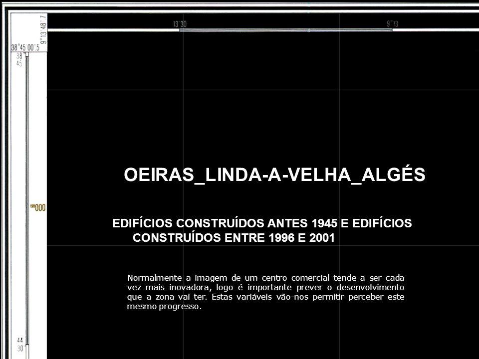 OEIRAS_LINDA-A-VELHA_ALGÉS EDIFÍCIOS CONSTRUÍDOS ANTES 1945 E EDIFÍCIOS CONSTRUÍDOS ENTRE 1996 E 2001 Normalmente a imagem de um centro comercial tende a ser cada vez mais inovadora, logo é importante prever o desenvolvimento que a zona vai ter.