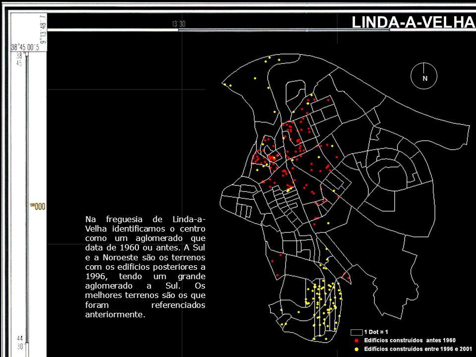 LINDA-A-VELHA N Na freguesia de Linda-a- Velha identificamos o centro como um aglomerado que data de 1960 ou antes. A Sul e a Noroeste são os terrenos