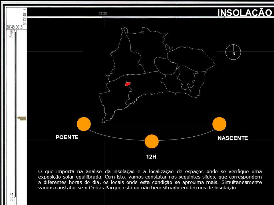 POENTE 12H NASCENTE INSOLAÇÃO O que importa na análise da insolação é a localização de espaços onde se verifique uma exposição solar equilibrada. Com