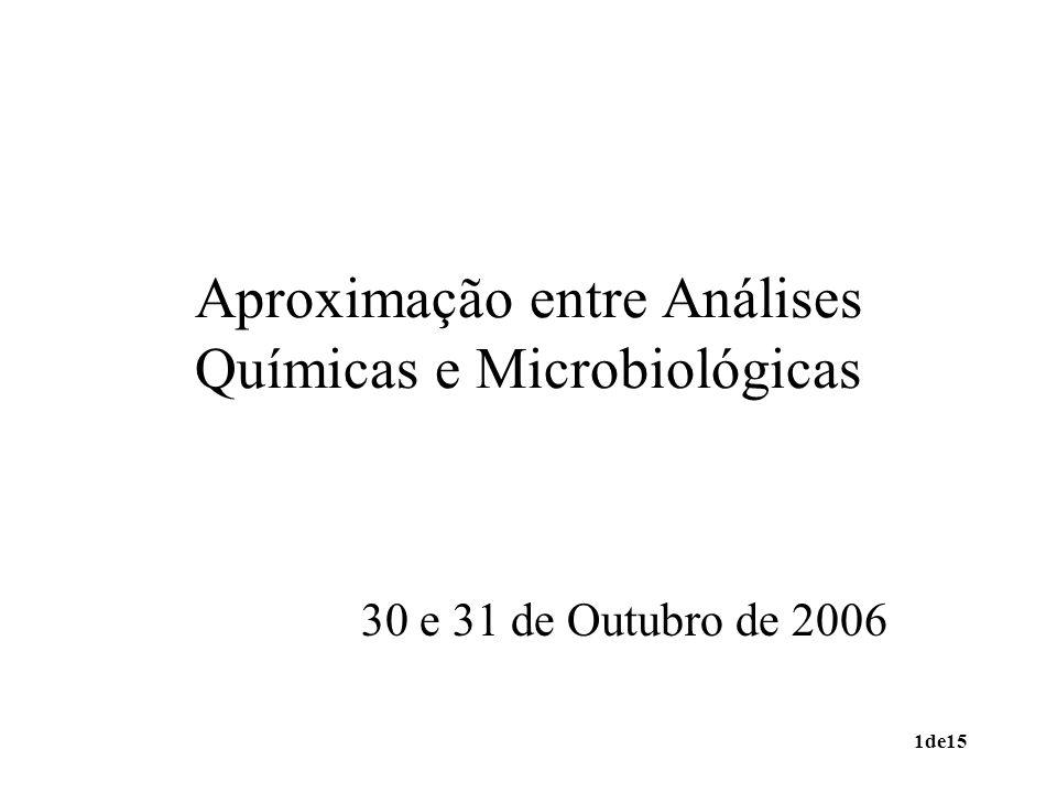 1de15 Aproximação entre Análises Químicas e Microbiológicas 30 e 31 de Outubro de 2006