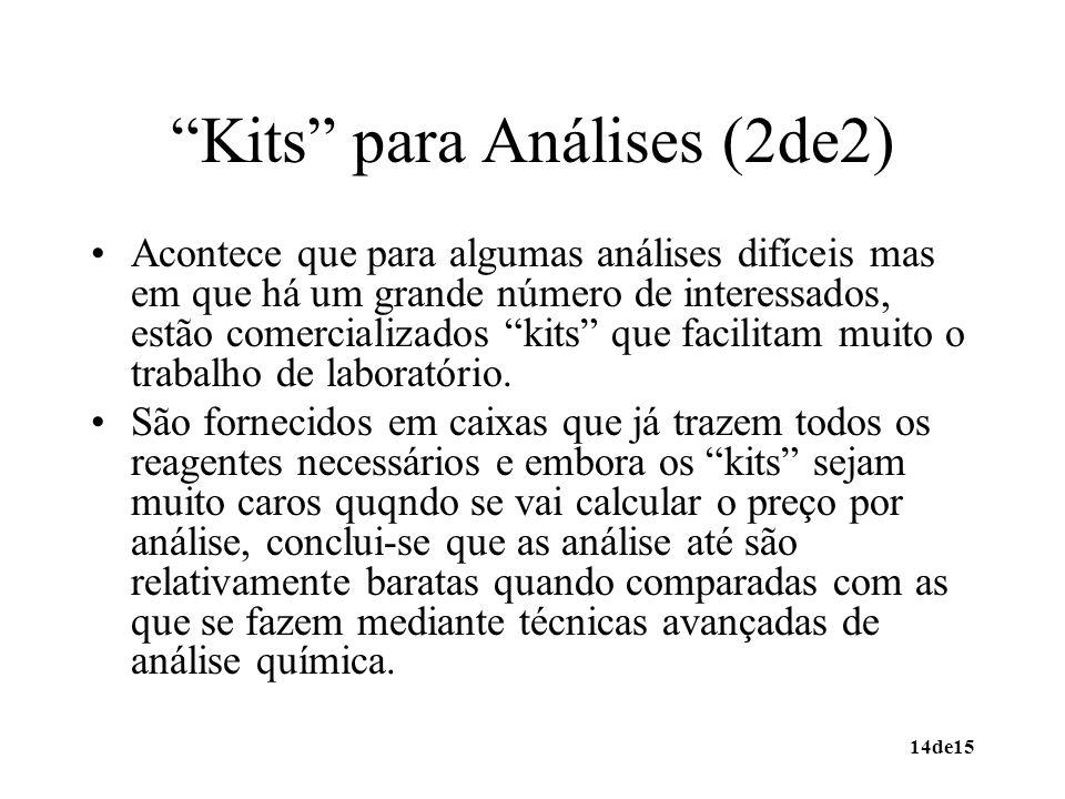 14de15 Kits para Análises (2de2) Acontece que para algumas análises difíceis mas em que há um grande número de interessados, estão comercializados kit