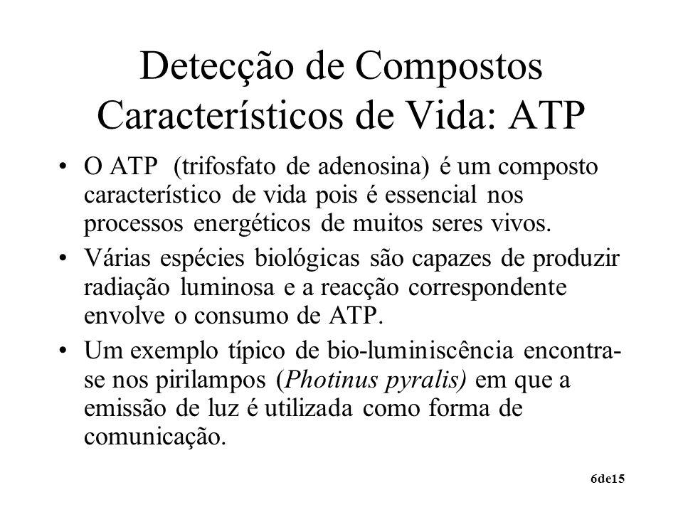 6de15 Detecção de Compostos Característicos de Vida: ATP O ATP (trifosfato de adenosina) é um composto característico de vida pois é essencial nos pro