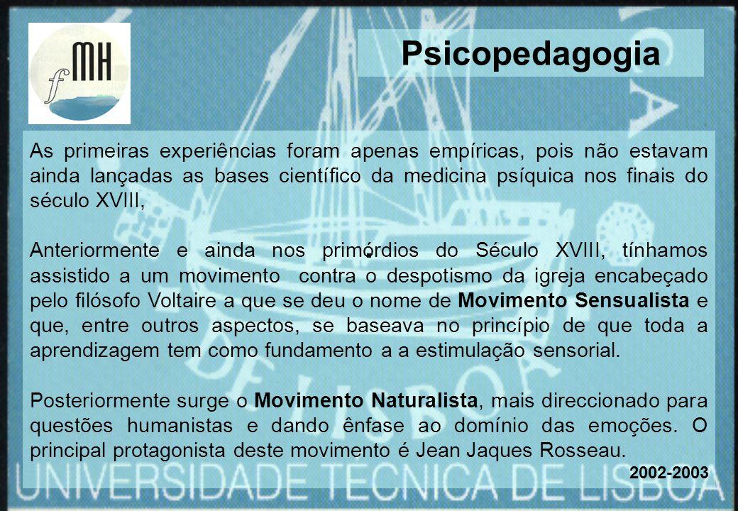 As primeiras experiências foram apenas empíricas, pois não estavam ainda lançadas as bases científico da medicina psíquica nos finais do século XVIII,