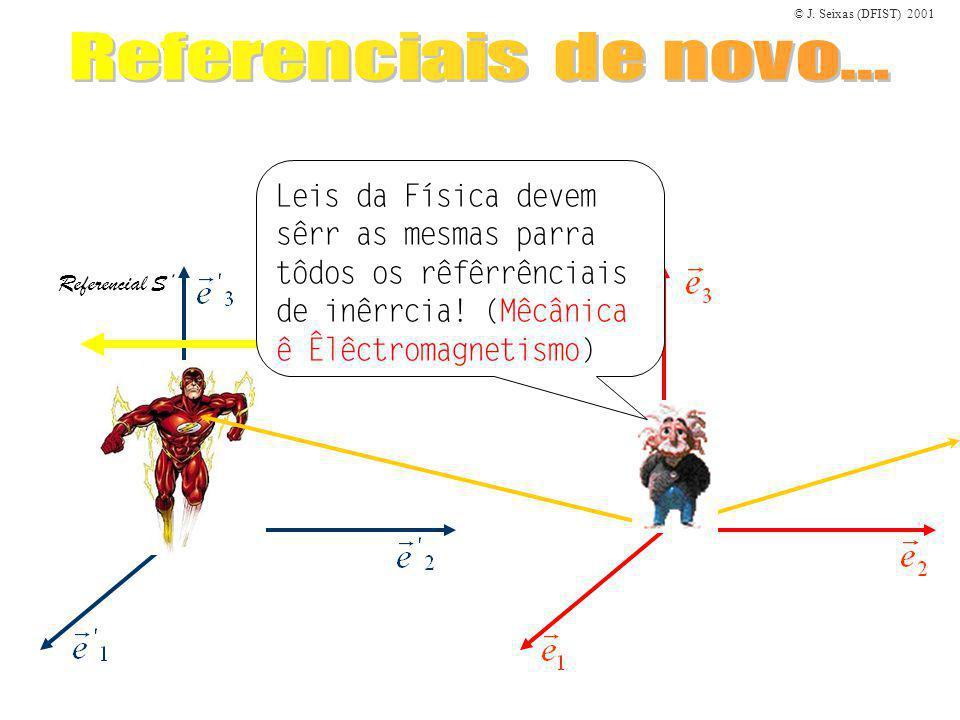 © J. Seixas (DFIST) 2001 Referencial S Leis da Física devem sêrr as mesmas parra tôdos os rêfêrrênciais de inêrrcia! (Mêcânica ê Êlêctromagnetismo)