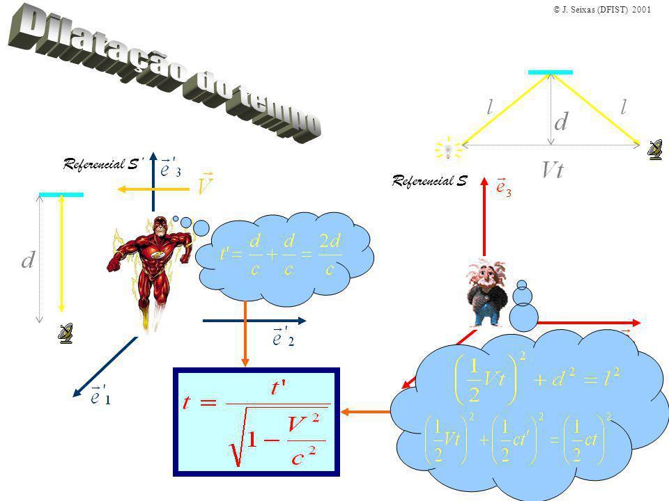 © J.Seixas (DFIST) 2001 Exemplo: Uma partícula tem uma vida média em repouso de 1.53×10 -6 s.