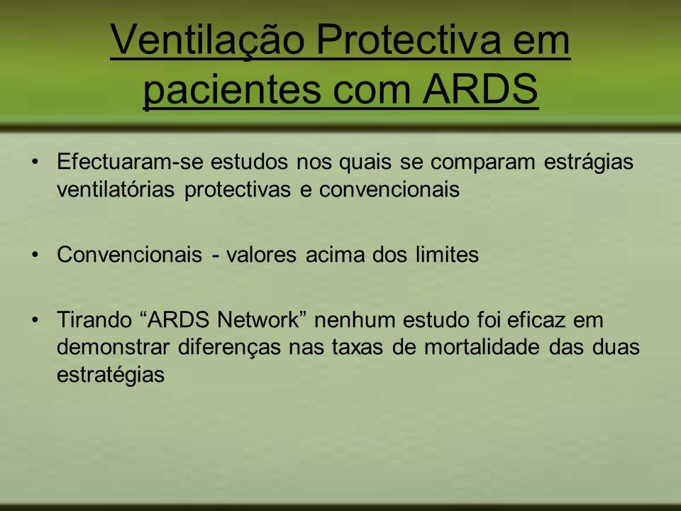 Efectuaram-se estudos nos quais se comparam estrágias ventilatórias protectivas e convencionais Convencionais - valores acima dos limites Tirando ARDS